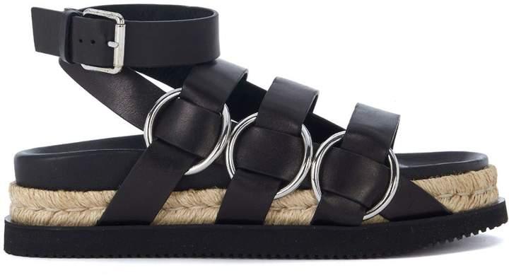 Alexander Wang Bess Black Leather Sandals