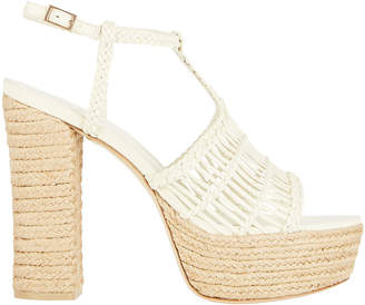 Cult Gaia Thea Woven Leather Espadrille Sandals