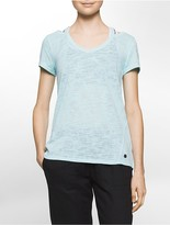 Calvin Klein Performance Cold Shoulder Slub Textured T-Shirt