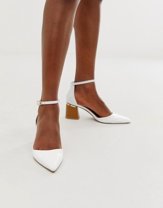 Asos Design DESIGN Stardust pointed mid heels in white