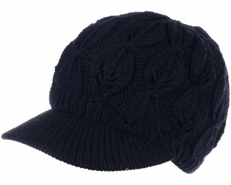 Be Your Own Style BYOS Womens Winter Chic Cable Warm Fleece Lined Crochet Knit Hat W/Visor Newsboy Cabbie Cap - Black - One Size