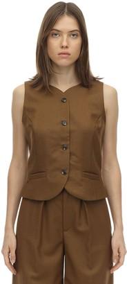 Cropped Wool Twill Vest