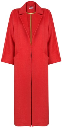 Mirimalist Wool Coat With Zippers Red