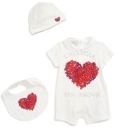 Gucci Infant Girl's Heart Bodysuit, Bib & Hat Set