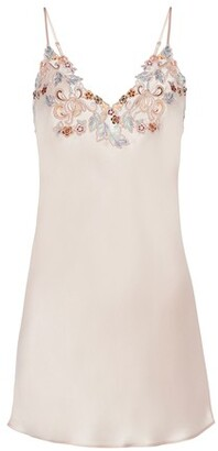 La Perla Slip Dress In Silk With Embroidered Tulle