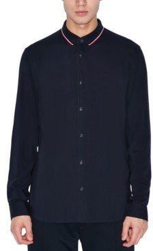 Armani Exchange Men's Button-Down Navy Shirt
