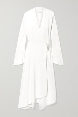 Vanessa Cocchiaro The Rose Asymmetric Satin Midi Wrap Dress