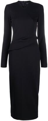 Emporio Armani Ruffled Fitted Midi Dress