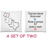 Long Distance Relationship Pillowcase, Together Forever Never Apart Maybe In Distance But Never at Heart Cushion Case - A Set of Two Cushion Cases - Decorative Square Throw Pillow Cover Cushion Case Pillowcase with Hidden Zipper Closure - Perfect Wedding, Engagement, Anniversary, Valentines Day and Birthday Gift for Couples or Lovers - inches, One-sided Print, Great Gift for Long Distance Couples, Friends, and Family