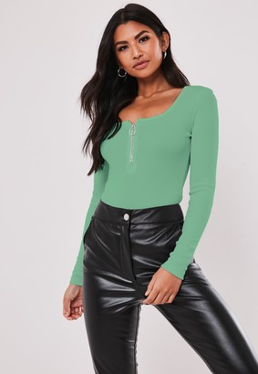 Missguided Petite Green Zip Front Long Sleeve Bodysuit