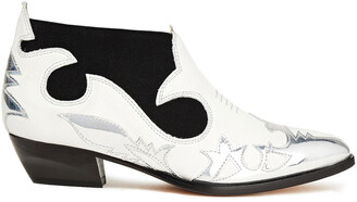 MSGM Metallic Patent And Smooth Leather Ankle Boots