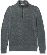 Inis Meáin - Mélange Linen Half-zip Sweater