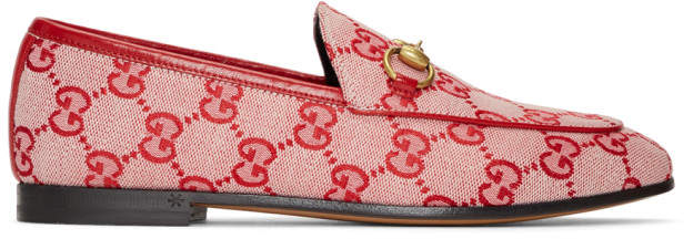 Gucci Red New Canvas Jordaan Loafers