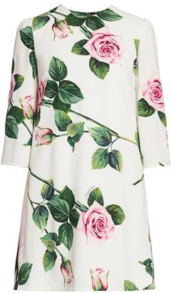 Dolce & Gabbana Rose Print Three-Quarter Sleeve Shift Dress