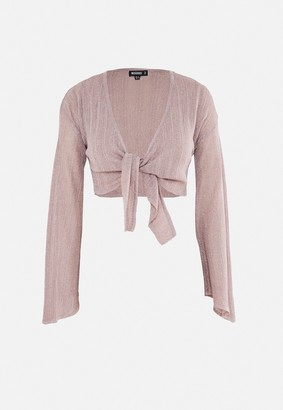 Missguided Pink Metallic Knitted Tie Front Top