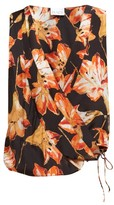 Raey Cross-over Lily-print Silk Top - Womens - Red Print