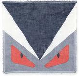 Fendi Monster-Print Scarf, Black/Blue