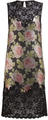 Paco Rabanne Lace And Rose-print Chainmail Mini Dress - Black Multi