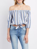 Charlotte Russe Striped Off-The-Shoulder Button-Up Top