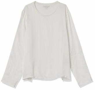 Majestic Filatures Women's Cotton/Cashmere Long Sleeve Crew Neck with Silk Yoke