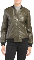 Juniors Faux Leather Bomber Jacket