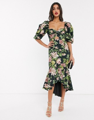 ASOS EDITION puff sleeve milkmaid dress in romantic floral print