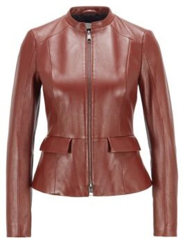 HUGO BOSS Regular-fit jacket in nappa leather with peplum hem