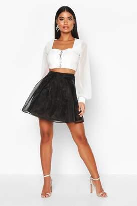 boohoo Petite Organza Skater Skirt