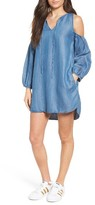 Blank NYC Women's Blanknyc Chambray Cold Shoulder Dress