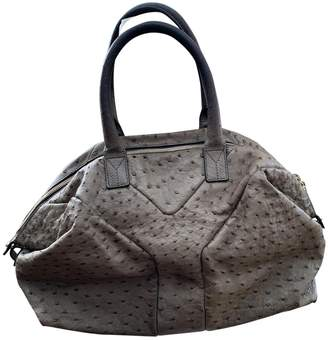 Saint Laurent Easy Grey Ostrich Handbags