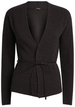 Peserico Rib-Knit Belted Cardigan