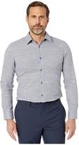 Calvin Klein Long Sleeve Chambray Slub Shirt (Maritime Blue) Men's Clothing