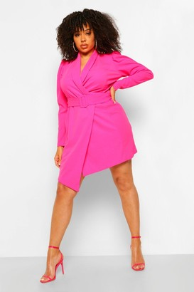 boohoo Plus Belted Blazer Dress