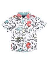 Andy & Evan Short-Sleeve Poplin Fish Shirt, White/Blue, Size 2-7