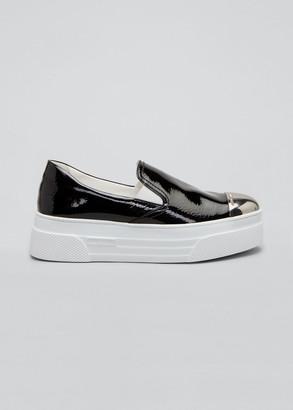 Miu Miu Patent Metal Cap-Toe Platform Sneakers