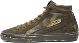 Golden Goose Slide Suede & Leather Sneakers in Military