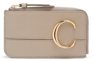 Chloé The C Leather Coin-purse Cardholder - Grey