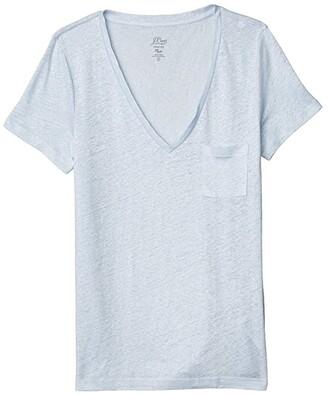J.Crew Linen V-Neck Pocket T-Shirt (Black) Women's Clothing