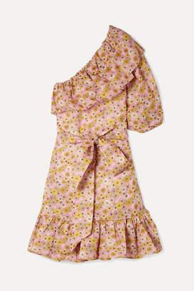 Lisa Marie Fernandez Arden Ruffled One-shoulder Floral-print Linen Mini Dress - Pink
