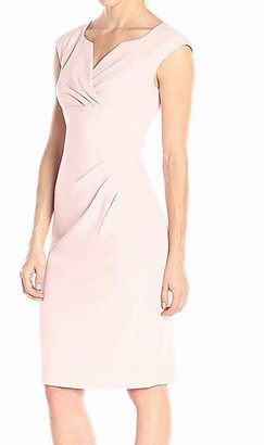 Adrianna Papell Women's Pleated Surplus V Neck Sheath Dress