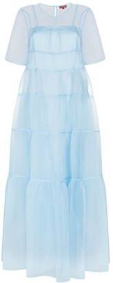 STAUD Organza Tiered Maxi Dress