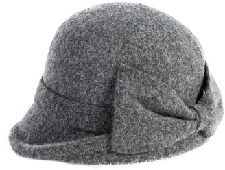 Comhats Womens Vintage Wool Felt Cloche Bucket Bowler Hat Winter Foldable Warm Grey