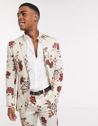 Topman skinny suit jacket in floral print