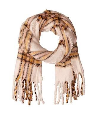 Steve Madden Ultra Soft Plaid Blanket Wrap (Ivory) Scarves