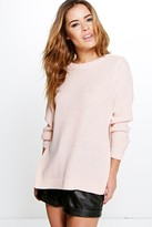 boohoo Petite Becca Side Split Tunic Jumper