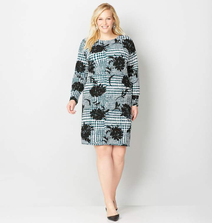 Plus Size Patchwork Plaid And Floral A-Line Dress