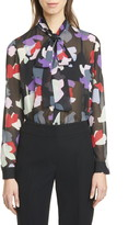 Emporio Armani Tie Neck Abstract Floral Blouse