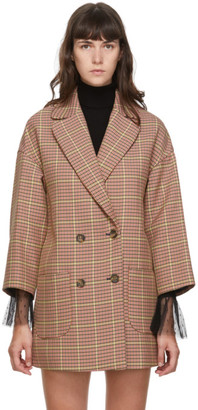 RED Valentino Pink Plaid Double Breasted Coat
