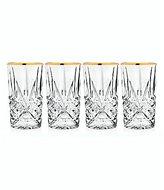 Godinger Dublin Handcrafted Gold-Rimmed Crystal Highball Glasses, Set of 4