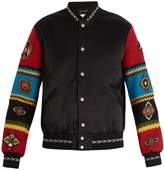Saint Laurent Sleeve-appliqué satin bomber jacket